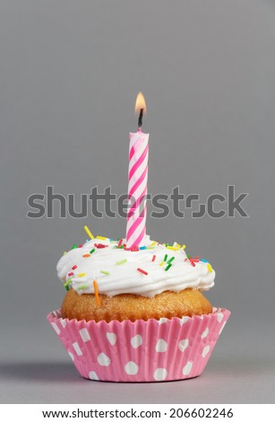 Cupcake with cream and candle