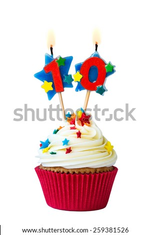 Cupcake with number ten candles - stock photo
