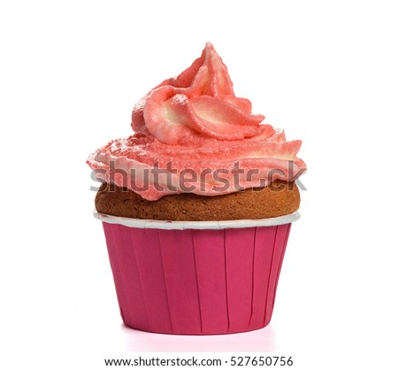 Cupcake with Strawberry cream isolated on white background