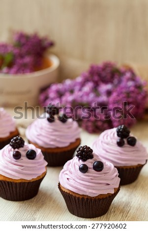 Cupcakes baked dessert decorated with berries in purple color and lilac on background. Traditional American sweet. Natural light, rustic style. - stock photo