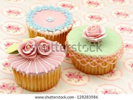 Cupcakes decorated - stock photo
