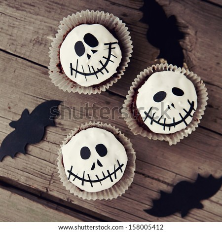 Cupcakes for halloween party, toned image - stock photo