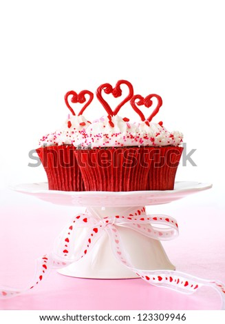 Cupcakes for Valentine's day. - stock photo