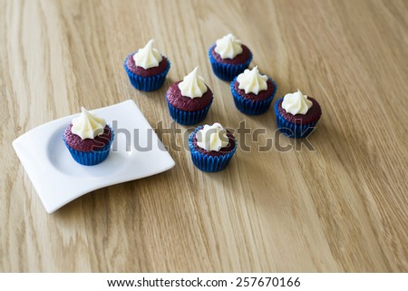 cupcakes on a tray   - stock photo