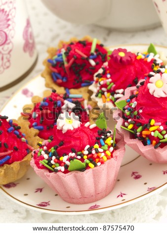 cupcakes on the plate - stock photo