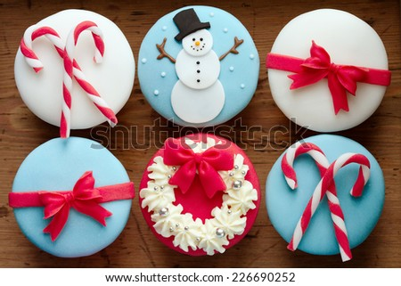 Cupcakes with a Christmas theme - stock photo