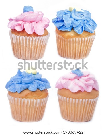 Cupcakes with blue and pink frosting