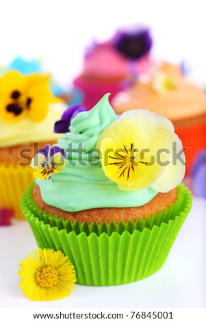 cupcakes with cream and decorated with violets - stock photo