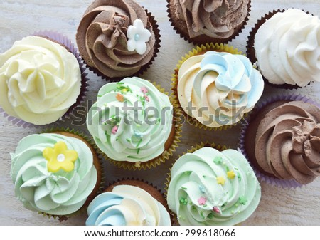 cupcakes, with cream ,decorated with hearts,Valentine's day,international women's day,love.Notepad.Valentine,love letter - stock photo