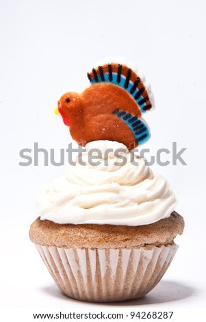 Cupcakes with Thanksgiving Turkey on top - stock photo
