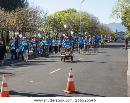 CUPERTINO, CA - APRIL 4: Annual Big Bunny Fun Run, an event that celebrates positive, healthy, and connected community on April 4, 2015 in Cupertino.