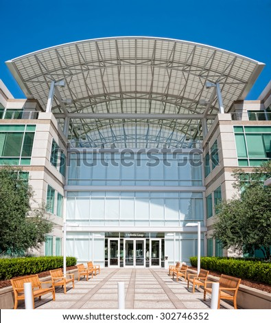 CUPERTINO, CA - AUGUST 1, 2015: Apple Inc Headquarters at One Infinite Loop located in Cupertino, California on August 1, 2015 - stock photo