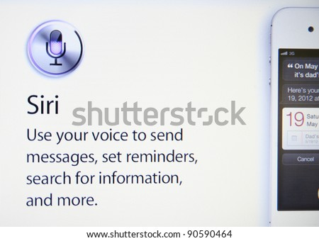CUPERTINO, CA - DEC 9: Siri, the iphone intelligent software assistant helps Apple sell 30 million iPhones in the December quarter, shares could hit $510 on Dec 9, 2011 in Cupertino, California. - stock photo