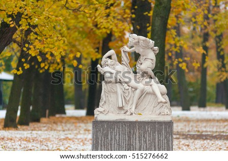 Cupid and Psyche in Summer Garden after the first snowfall, St. Petersburg, Russia