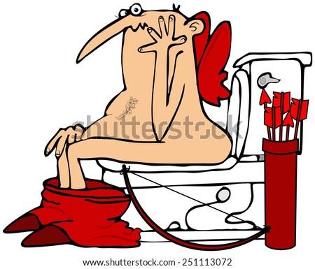 Cupid on the toilet - stock photo