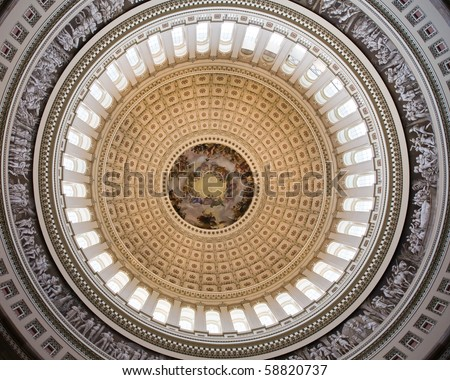cupola and ceiling of the rotunda - capitol with fresco above, Washington DC - stock photo