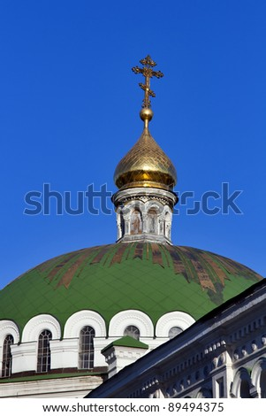 Cupola of Refectory Church in Pechersk Lavra cave monastery in Kiev, Ukraine. UNESCO world heritage. - stock photo