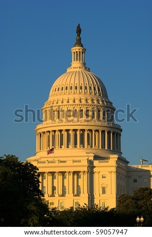 Cupola of the capitol during the sunset, Washington DC, USA - stock photo
