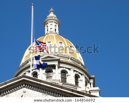 Cupola of the Colorado State Capitol Building in Denver. - stock photo