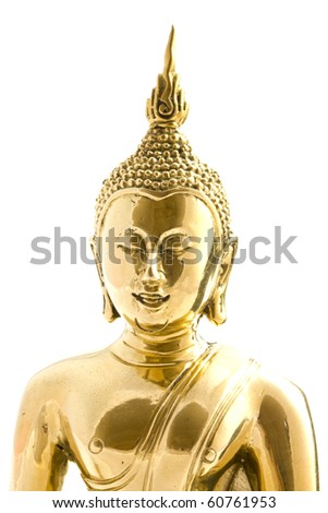 Cupper buddha isolated on a white background