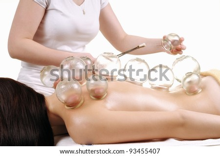 cupping massage - stock photo