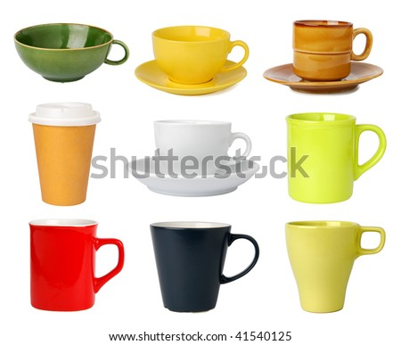 Cups and mugs collection - stock photo