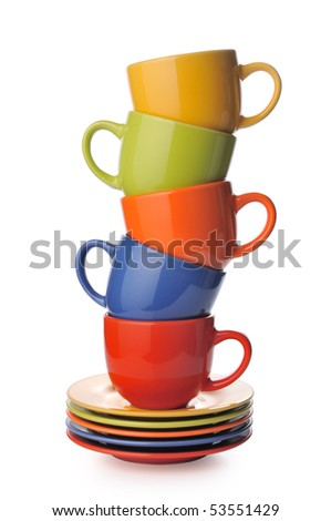 Cups and saucers on a white background - stock photo