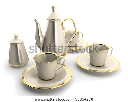 cups and teapot - stock photo