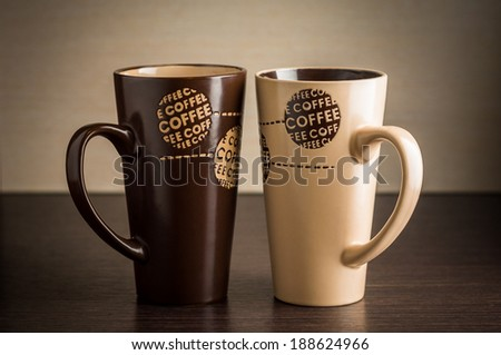 Cups of coffee on the table - stock photo