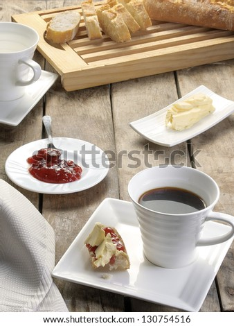 cups of coffee with jam and butter - stock photo