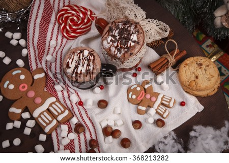 cups on holiday decorations - stock photo