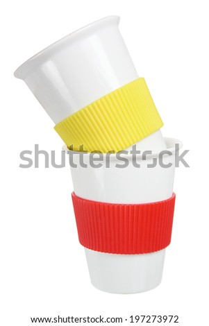 Cups on White Background - stock photo