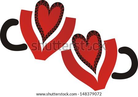 Cups romantic heart illustration - stock photo
