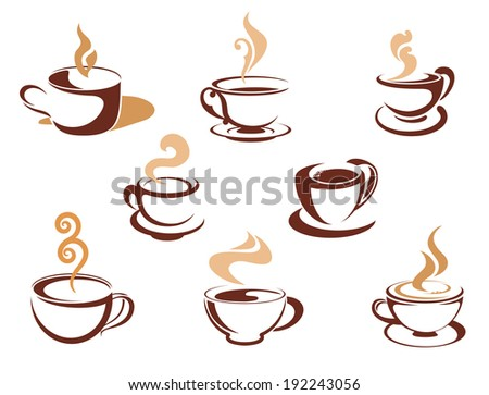 Cups with fragrant coffee for cafe or restaurant design. Vector version also available in gallery - stock photo