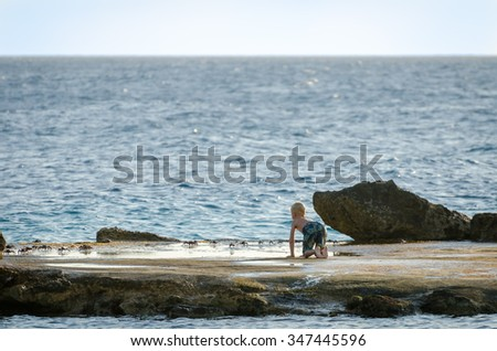 Curacao, Caribbean - September, 29, 2012: Boy playing with crabs on a rock in a Curacao beach.