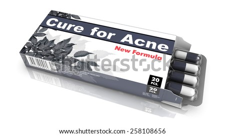 Cure for Acne - Gray Open Blister Pack Tablets Isolated on White. - stock photo