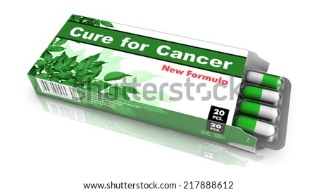 Cure for Cancer - Green Open Blister Pack Tablets Isolated on White. - stock photo