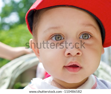 Curios little boy - stock photo