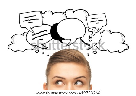 curiosity, communication and people concept - happy young woman or teenage girl face with text clouds