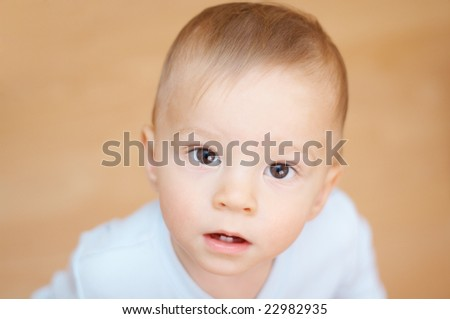 curious baby face - stock photo