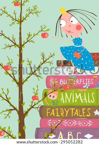 Curious Little Girl with Many Books and Apple Tree. Colorful a4 children greeting card illustration about education. Raster variant. - stock photo