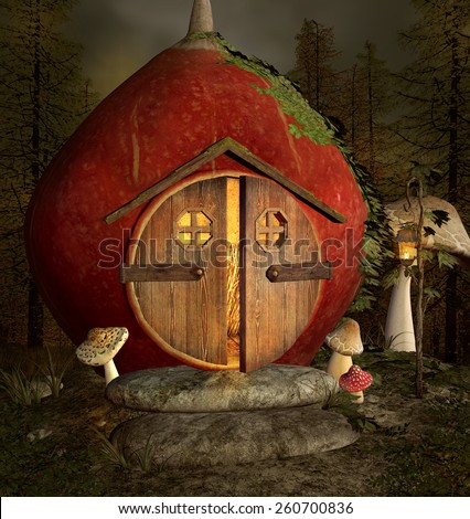 Curious little house in the middle of the forest - stock photo