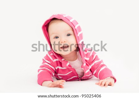 curious little toddler moving - stock photo