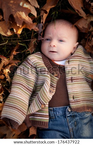 Curious newborn baby boy surrounded by fall leaves in a striped sweater and blue jeans - stock photo
