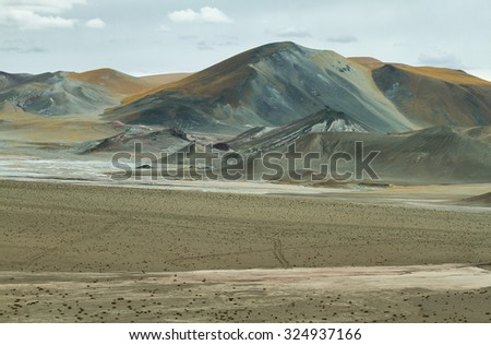 Curious pyramidal formations in Sico Pass on the way to San Pedro de Atacama, Chile - stock photo
