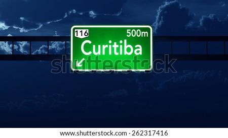 Curitiba Brazil Highway Road Sign at Night - stock photo