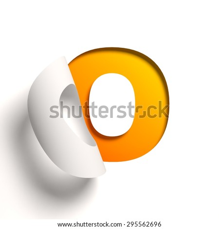 Curl paper font letter O - stock photo