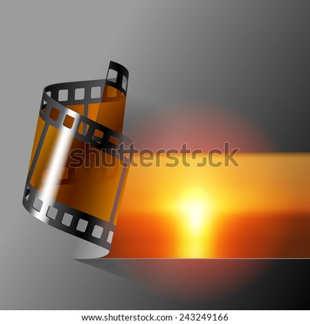 Curled photo film strip with sea sunset background. Movies and Photo album cover.  - stock photo
