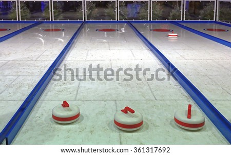 Curling Ice Tracks at Winter Fair - stock photo