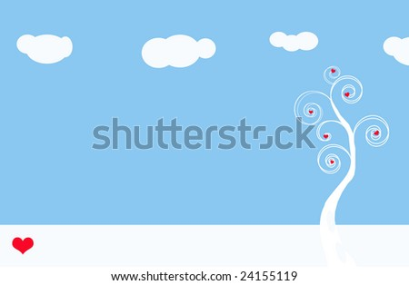 Curling tree with hearts on blue background - stock photo